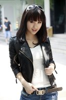 Wholesale 2016 New Fashion spring Autumn women faux leather Jacket women Pu leather small blazer zippers coat motorcycle outerwear wt03