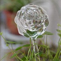 Wholesale Transparent Small Handcraft Glass Plant Watering Globes Rose Shape plant watering ball Small Handcraft Glass Plant Watering Globes