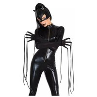 Sexy Costumes adult devil costumes - Halloween Sexy Adult Catwomen Costumes Black Wet Look Zipper Front Fetish Devil Catsuit
