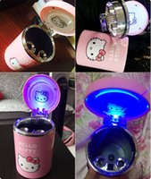 Wholesale Hello Kitty Doraemon Durable Movable Car Travel Cigarette Ash Holder LED Light Ashtray useful car tool fashion