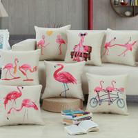 Wholesale 2016 Hot Sale New Animal Bird Flamingo Printed Pillow Cases Cushion Pillowcase Cover High Quality Cartoon Cushion CoversSupplies CM