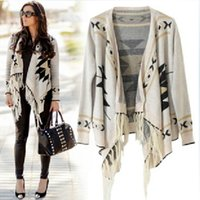 aztec pattern sweaters - 2014091009 New Spring Winter Fashion Women s Casual Aztec OversizedCool Apricot Long Sleeve Geometric Pattern Tassel Cardigan Sweater