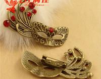 african masks materials - A3639 MM Zinc alloy plating of ancient bronze mask Brooch Pin retro DIY handmade jewelry accessories metal materials
