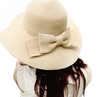 Wholesale New Summer Style Women Folding Summer Beach UV Cap Wide Brim Bowknot Floppy Straw Sun Hat QJ