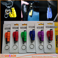 Wholesale Emergency Mini Safety Hammer Auto Car Window Glass Breaker Seat Belt Cutter Rescue Hammer Car Life saving Escape Tool With Retail Packaging