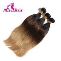 Ombre las extensiones del pelo recto de tres Brown Rubia 1B 4 27 Ombre de la armadura brasileña del pelo recto humano Paquetes 3PCS / Lot del pelo Misu