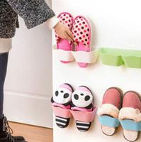 Wholesale Wall Mounted Sticky Hanging Shoe Hook Shelf Rack Shoes Holder Storage Hot