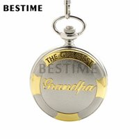 Wholesale BESTIME Watch The Greatest Grandpa Silver Golden Pocket Quartz Watch Chain Full Hunter Roman Numeral Gift