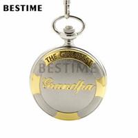 Wholesale BESTIME Watch The Greatest Grandpa Silver Golden Pocket Quartz Watch Chain Full Hunter Roman Numeral Gift