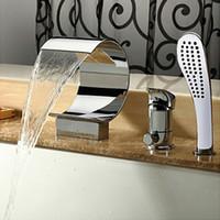 bathtub mixer valve - Bathroom Basin Mixer Waterfall Spout Tap Bathtub Faucet Set Waterfall Bathtub Faucets Valve Hand Shower Set