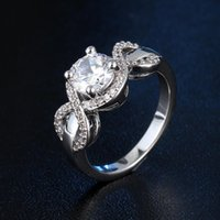Wholesale Female Sapphire Jewelry Silver Topaz Rings En Argent Wedding Engagement Rings CZ Diamond Silver Crystal Vintage Anillos Mujer Jewelry RJ018