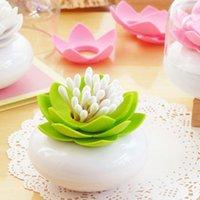 Wholesale Exquisite Lotus Design Cotton Swab Holder Toothpick Case Storage Box
