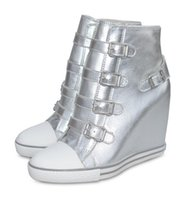 ash wedge shoes - Women s ASH United Rubber Wedge Sneakers Silver Leather Ankle Boots High Top ASH Trainers Sheepskin Fashion Tide ASH Wedge Sneaker Shoes