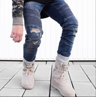 Wholesale boost fear of god urban clothing trousers black blue skinny biker joggers hip hop men pants represent jeans