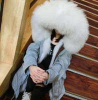 Wholesale Mr Mrs furs Parkas Grey jacket hooded with real raccoon fur collar real fox fur lining