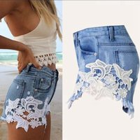 Wholesale Summer New Women Jeans European and American Style Joker Sexy Show Thin Lace Bud Silk Flowers Joining Together Cowboy Shorts