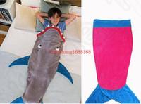 Wholesale Kids Mermaid Sleeping Bag Shark Crystal Wool Warm Sleep sacks Mermaid Tail Fleece Blankets Soft Blanket color