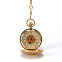 arts steel watch - Luxury Gold Art Geometric Design Engraved Hand Wind Mechanical Collectable Pocket Watch Mixed