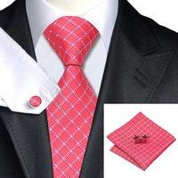 La corbata rosada de la boda La corbata formal elegante de los hombres Hanky Cfflinks El telar jacquar de seda tejido de las telas cruzadas controla la liquidación del lazo N-0521