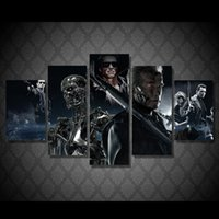Wholesale 5 Set Framed Printed Terminator movie Painting Canvas Print room decor print poster picture canvas ny