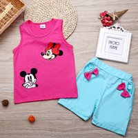 baby singlet suits - Pink Minnie Baby Girls Clothes Sets Summer Hot Children Vest Shorts Pants Beach Clothes Suit Sleeveless Kids T Shirts Singlet