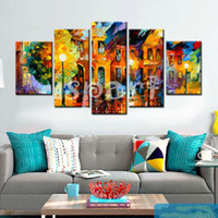 afremov paintings - Hand made Palette Knife painting night street scenery Oil Painting leonid afremov Modern Abstract Canvas Wall Art home Decor Picture
