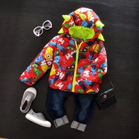 Wholesale Hot sale casual cartoon printed winter parka baby coat boys hooded cotton padded jackets clothes thicken snow wear M T