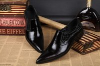 Wholesale High Quality Men Pointed Toe Leather Dress Shoes Black Groom Wedding Formal Shoes Korean Style Genuine Leather Men Oxfords Busines Shoes
