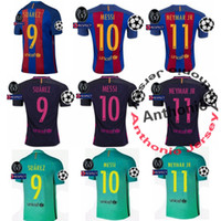 Wholesale champions league MESSI NEYMAR JR SUAREZ INIESTA PIQUE ARDA RAKITIC thai quality thailand football jerseys soccer jerseys uniform SETS