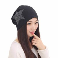 Beret baggy hat pattern - New Arrival New Women Knit Baggy Beanie Star pattern Hat gorros Female Fashion Ear Protect Sweet Girl brand cap amp p1