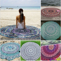 beach towel - Round Beach Towel Pareo Bikini Cover Ups Bohemian Hippie Beachwear Chiffon Beach Sarongs Bathing Suit Shawl Bath Swim Towel Yoga Mat B344