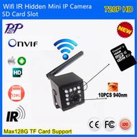 Wholesale 1MP P Indoor nm Invisable IR Leds Wifi Wireless Ip Camera Sd Card Video Surviallance P2P Onvif HD Mini IP Camera WIFI IR CUT