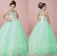 Wholesale 2017 Mint Green Girls Pageant Dresses for Teens Princess Ball Gowns Beaded Crystal Girls Pageant Prom Gowns