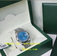 Wholesale Luxury Original Box Watch MENS SS K WHITE GOLD BLUE ROMAN MM DATE II Mens Automatic Watch Men s Watches