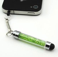 Wholesale DHL Colorful Crystal Capacitive Mini Stylus Touch Screen Jack Dust Cap Pen For iPhone