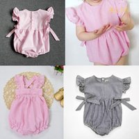 Cheap 2016 New Photo Romper Toddler baby girls Clothing Set Cut summer Kids stripe Jumpsuit baby crawling clothes baby romper