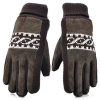 Wholesale Hot Sale Fashion High Quality Brand New Arrival Anti slip Suede Rib Knit Warming Gloves for Men Brown
