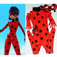 Wholesale Kids Miraculous Ladybug Cosplay Costume Ladybug Romper Costume Cat Suit Halloween Children Halloween Party suit