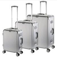 Wholesale Luxury Aluminum frame PC Hardside TSA lock Rolling Spinner Suitcase Luggage Set inch customized LOGO