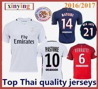 Wholesale best thai quality men PSG soccer jerseys DI MARIA home away rd CAVANI PASTORE VERRATTI football shirts