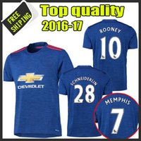 Wholesale 2016 United Home red away blue Soccer Shirt Thail quality camisetas maillots de foot embroidery logo