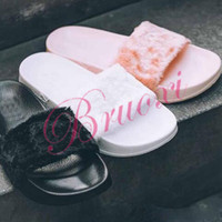 Wholesale With Box and Dust Bags RIHANNA FENTY Slippers Rihanna LEADCAT Fenty Fur Slides Women Fenty Slippers Black Slides Sandals Fenty Slide