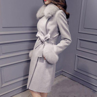 Wholesale Large Fox Fur Collar Wool Cashmere Coat Autumn Winter New Slim Long Women Coat Color Plus Size Casaco Feminino