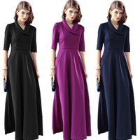 Wholesale New Hot Selling Ladies Women Casual Fashion Slim Suit Collar Mid sleeved Knit Long Dress Clothes