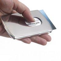 Wholesale Business Card Holder Women Vogue Thumb Slide Out Stainless Steel Pocket ID Credit Card Holder Case Men H210626