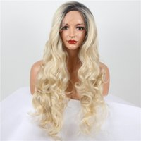 Wholesale long wavy blonde full wig dark roots natural look wig for white women synthetic lace front wig heat resistant
