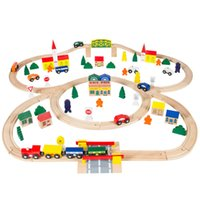 Wholesale 100pc Hand Crafted Wooden Train Set Triple Loop Railway Track Kids Toy Play Set