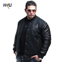 big mens leather jackets - Fall Winter Brand New Big Size Parkas Cotton Woolen Baseball Coat For Man Casual Mens Leather Sleeved Bomber Jacket