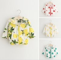 Wholesale Kids Ins Sunscreen Tops Coat Hooded Outerwear Lemon Pineapple Print Shirts Uv Protective Sun Protective Clothing KKA451