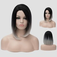 Wholesale Ombre Wig Black to Sliver Grey kanekalon Hair Wig For Black Women Heat Resistance Synthetic Hair Short Straight Gray Bob wig